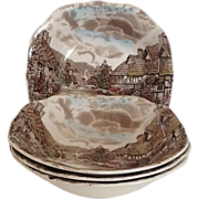 3 Square Soup Bowl Johnson Brothers Olde English Countryside
