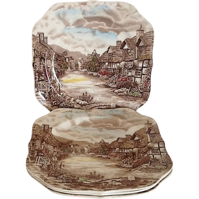 2 Square Salad / Snack Plate Olde English Countryside by Johnson Brothers