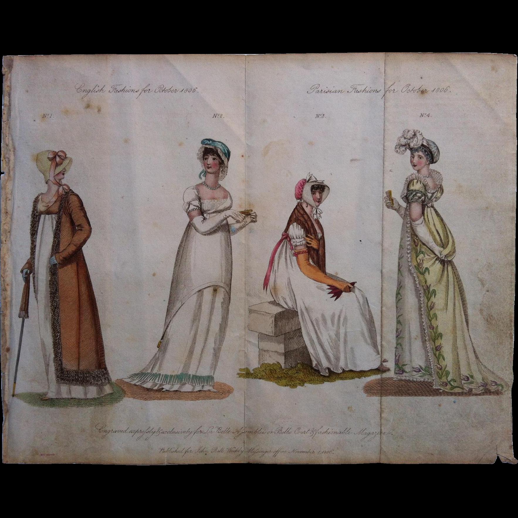 October 1806 La Belle Assemblee English / Parisain Fashion Print