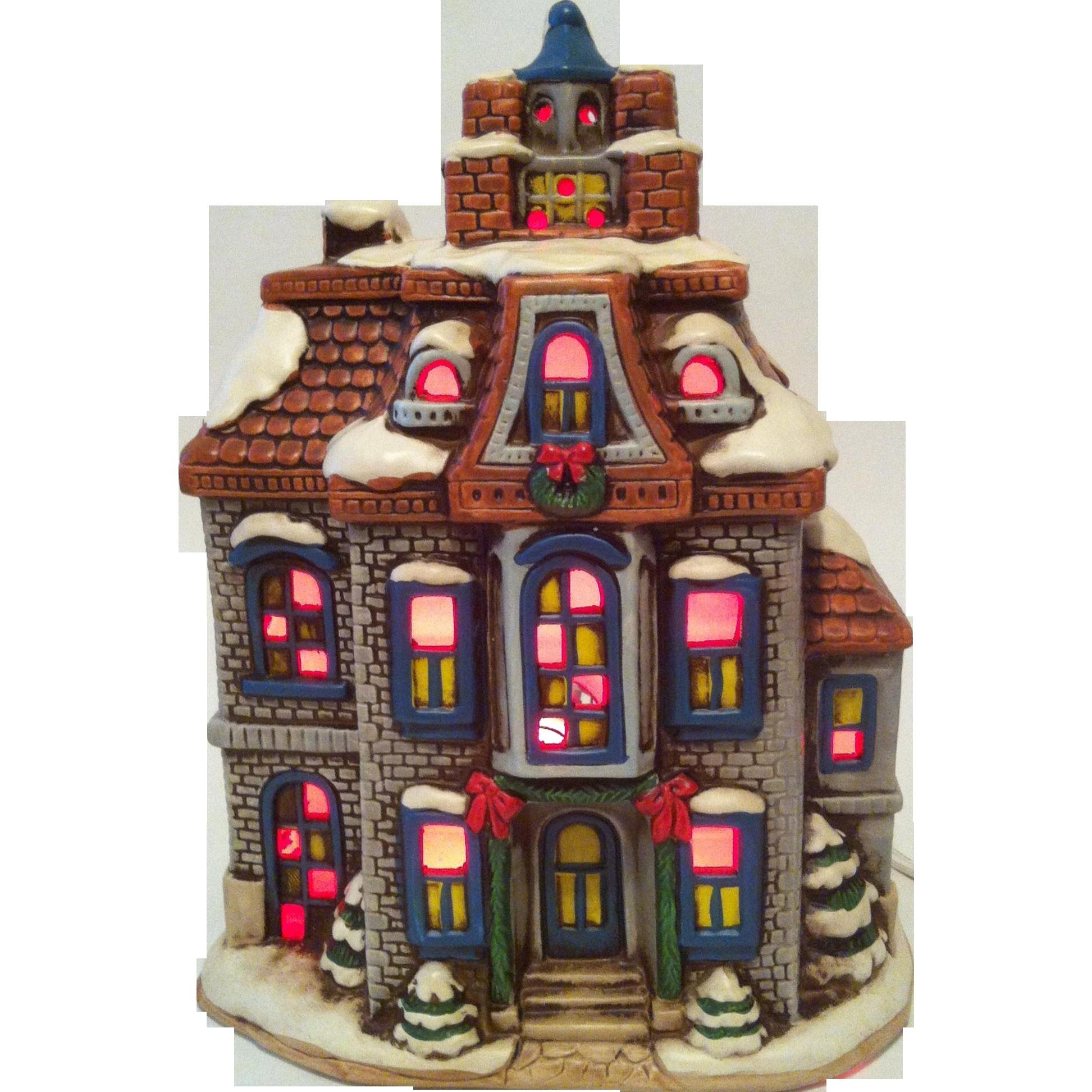 1987 Lefton Greystone House ~ Colonial Village ~ 06339