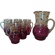 Cranberry Flashed & Gilt Lemonade Set