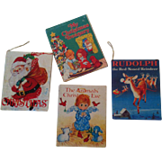 4 Miniature Christmas Book Ornaments