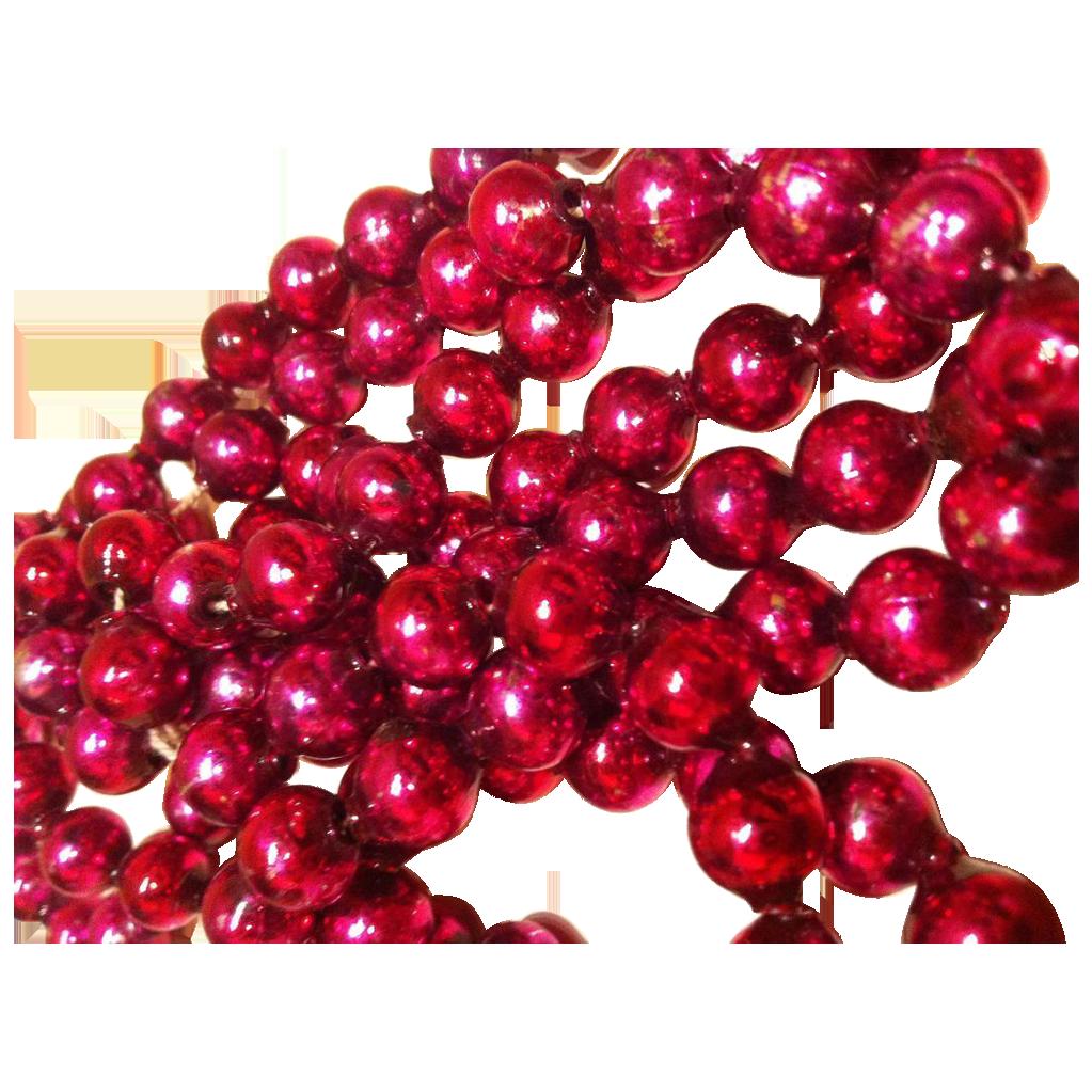 "Fuchsia Pink Vintage Mercury Beaded Garland 60"""