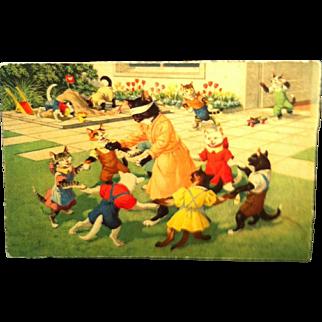 #4699 Mainzer Cats Postcard~ kittens Playing Blind Man's Bluff ~ Switzerland