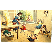 #4733 Mainzer Cats Postcard ~ Scorching Laundry While Moms Gossip ~ Switzerland
