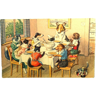 #4762 Mainzer Cats Postcard ~ Cats and Dogs At Dinner ~ Switzerland