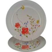 2 Mikasa Just Flowers Dinner Plates