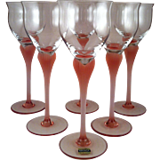 6~ Tall Mikasa Sea Mist Coral Pink Water Goblets