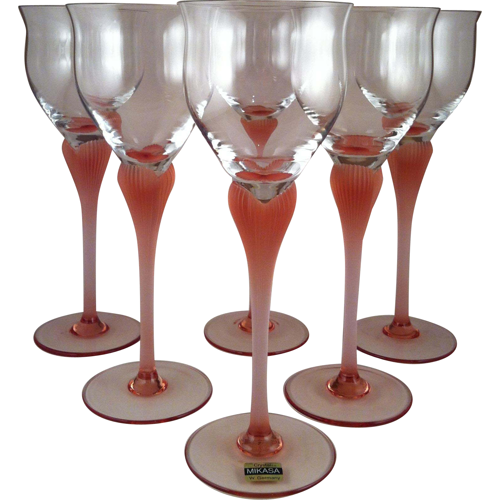 6~ Tall Mikasa Sea Mist Coral Pink Water Goblets