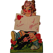 Early Large Mechanical Valentine Card. ~ 2 / 5 cents