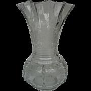 Large Flower Basket Etched Vase by New Martinsville