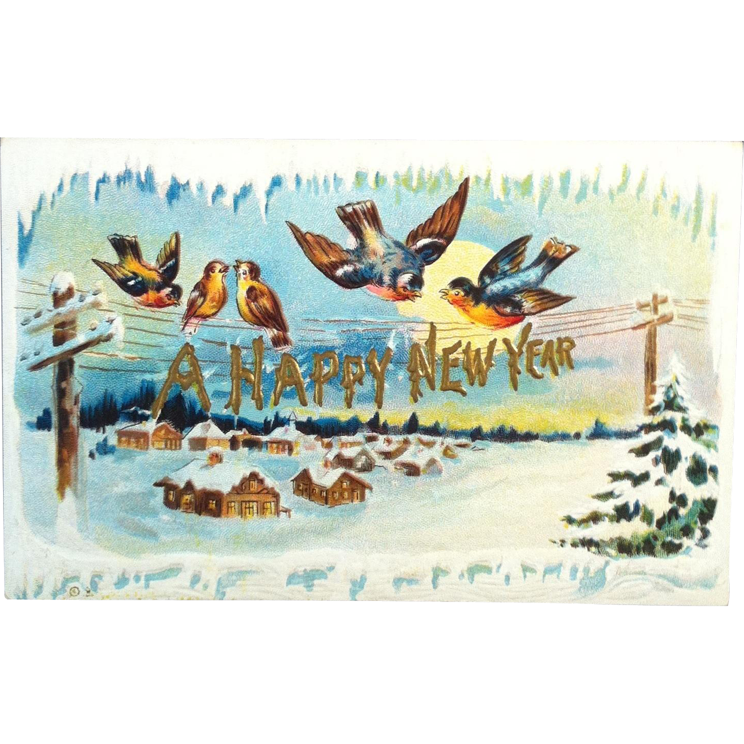 1910 Embossed New Year's Post Card  # 209 ~ Nash