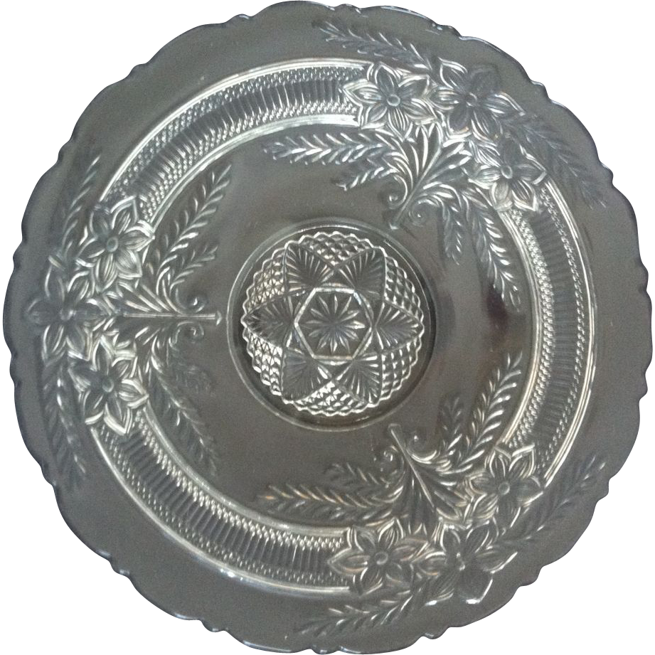 Narcissus Spray Low Cake Plate by Indiana Glass