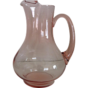 "10 1/2"" Pink Glass Pitcher with Ice Lip"