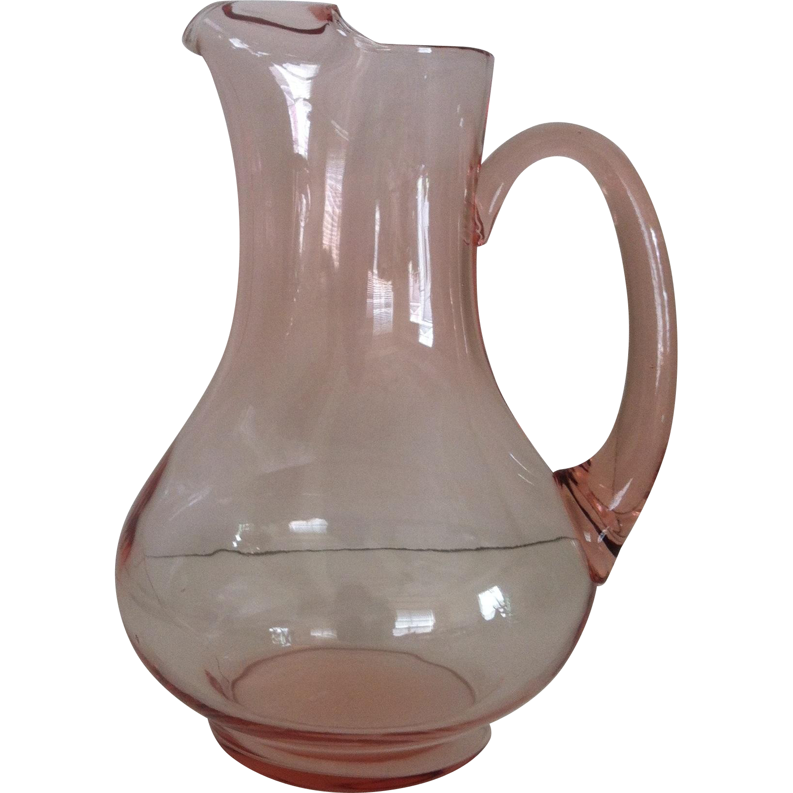 """10 1/2"""" Pink Glass Pitcher with Ice Lip"""