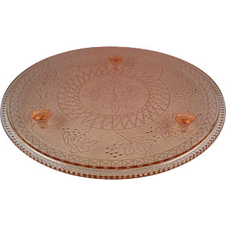 Pink Maple Leaf Cake Plate~ US Glass
