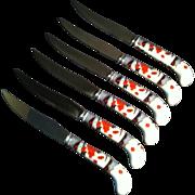 6 Mandarin Steak Knives ~ Prill ~Sheffield England