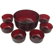 Ruby Glass Large Salad Bowl set of 7 - Red Tag Sale Item