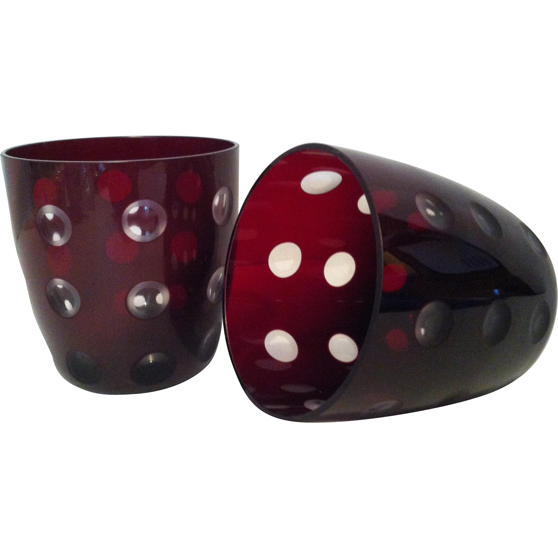 2 Ruby to Clear Double Old Fashioned / Rocks Glasses