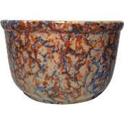 "Red Wing  7"" Blue & Orange Spongeware Bowl"