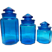 3 Blue Canister Jars with Ground Stoppers