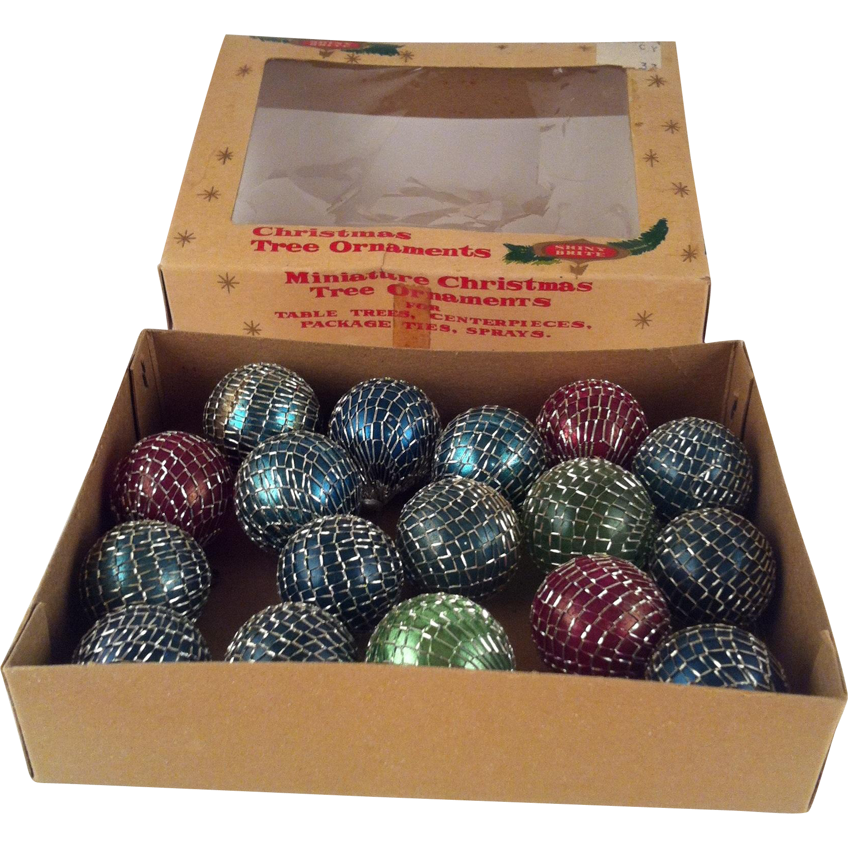 Shiny Brite Wired Mesh Feather Tree Ornaments with Box