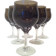 9 Sasaki Coronation Brown Wine Glasses