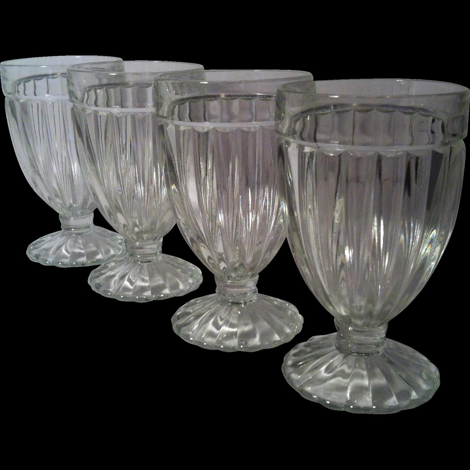 4 Old Fashioned Soda Fountain Glasses