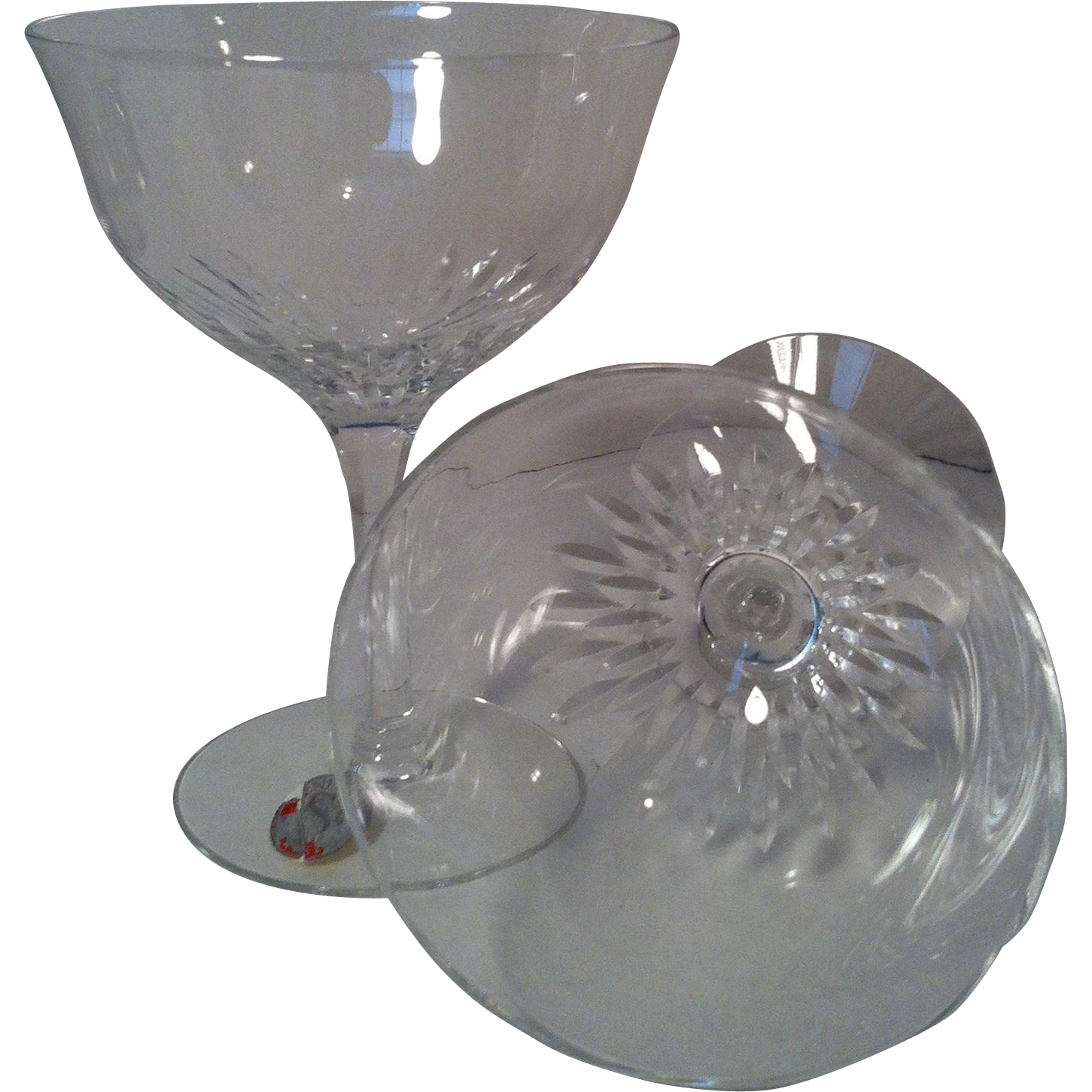 2 Seneca First Lady Crystal Champagne/ Tall Sherbet Glasses