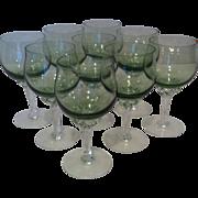 9 Sasaki Coronation Light Green Wine Glasses