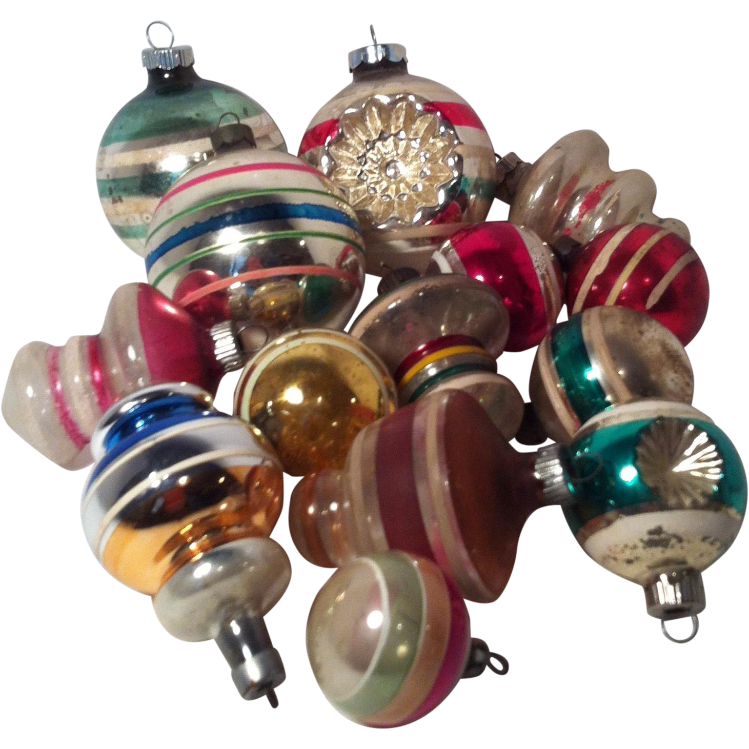Large round christmas ornaments - 14 Vintage Striped Indents Lanterns Round Christmas Ornaments