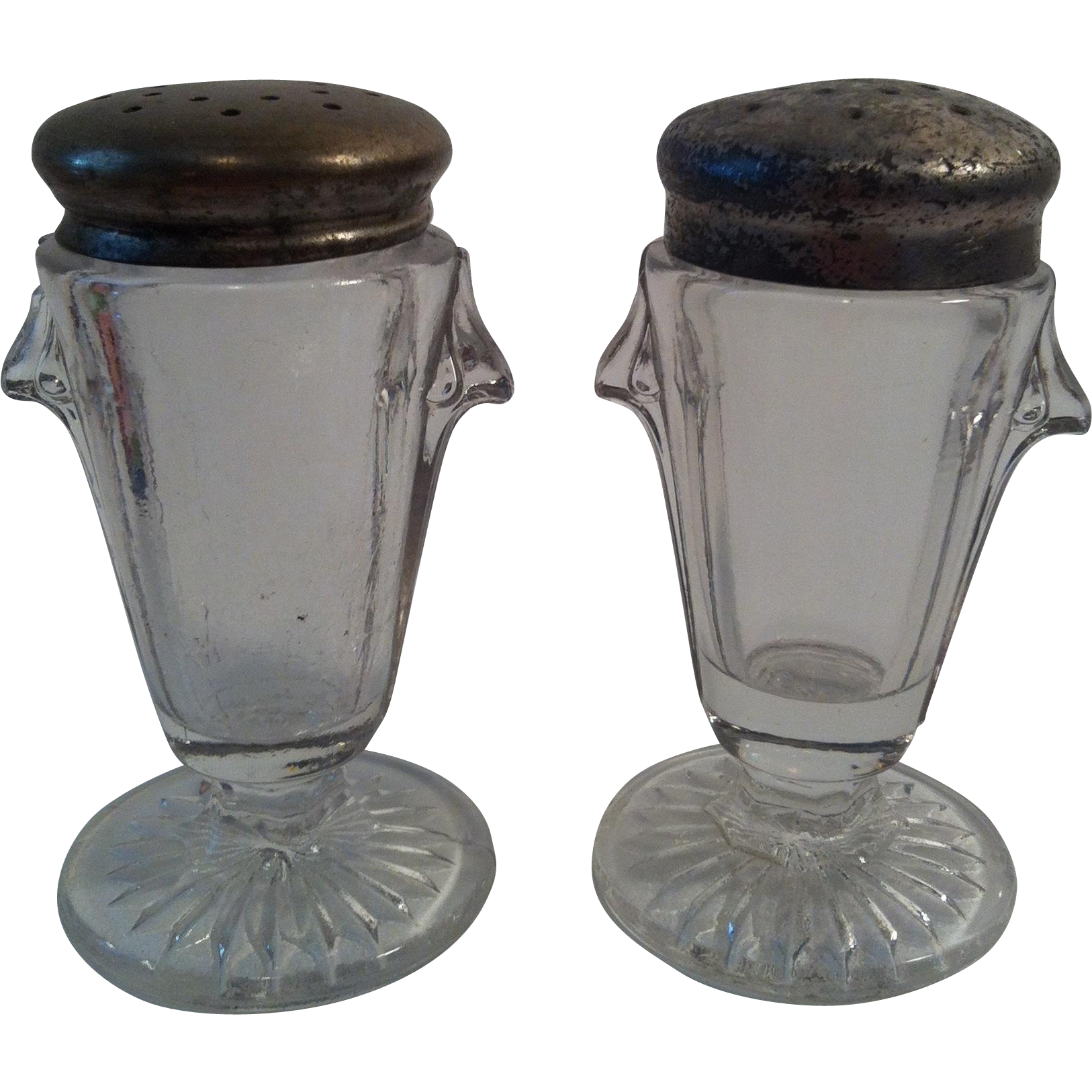 EAPG Sunken Teardrop Salt & Pepper Shakers - Richards & Hartley