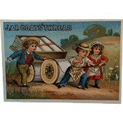 J&P Coats Trade Card - Needle & Tread Numbers 1881