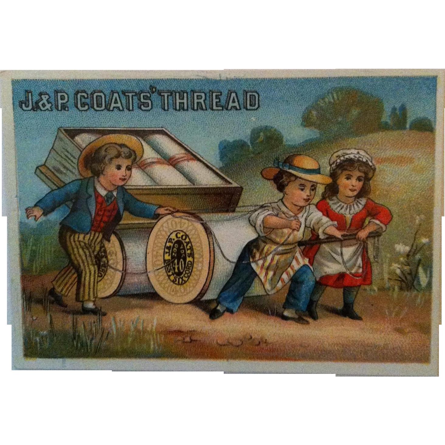 J&P Coats Trade Card - Needle & Tread Numbers 1881