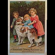 Household Sewing Machine Dog & Children Trade Card