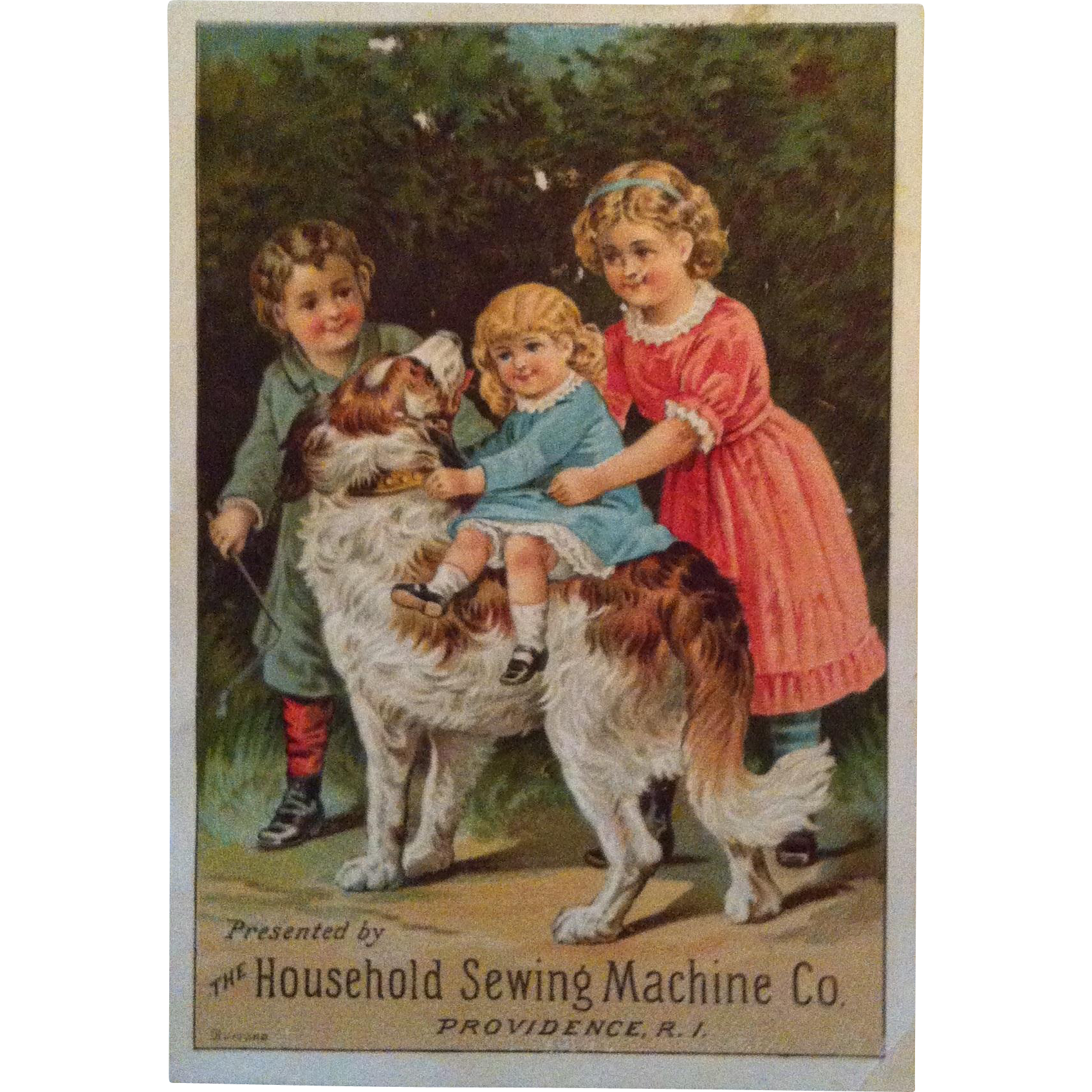 Household Sewing Machine Dog & Children Trade Card