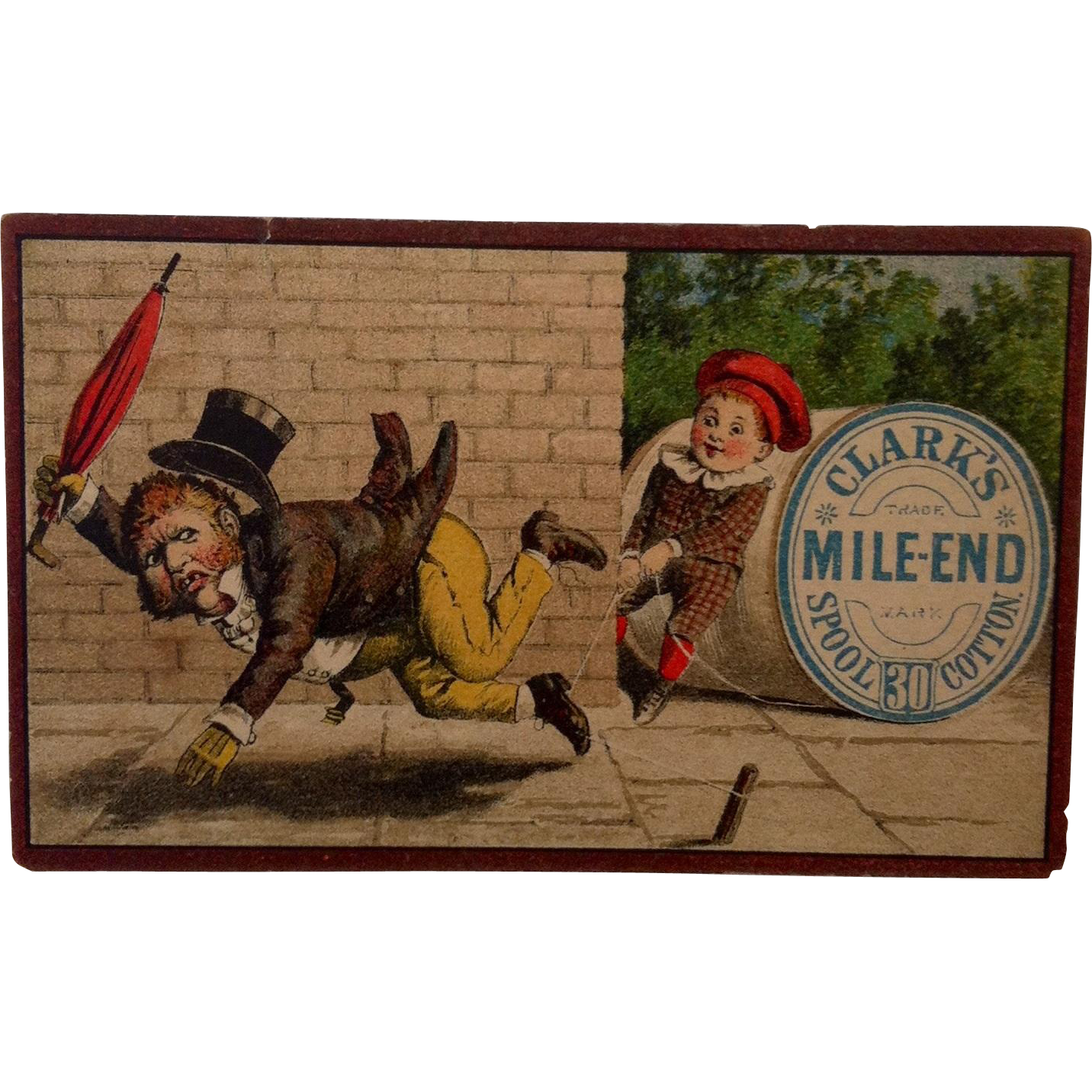"Clark's Mile End ""Boy Tripping Man"" Trade Card"