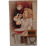 Domestic Sewing Machine Girl Blowing Bubbles Trade Card