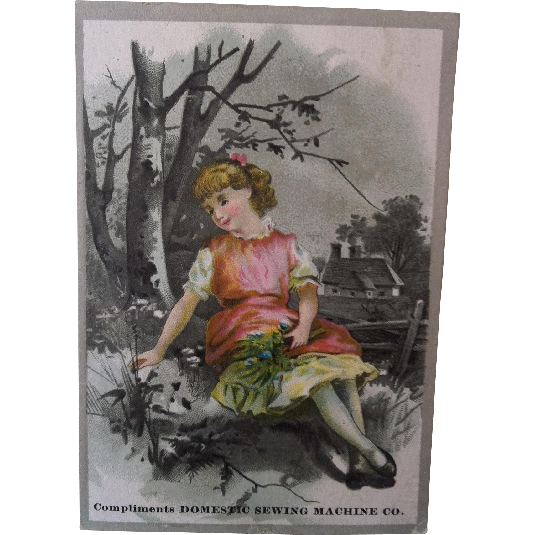 Domestic Sewing Machine Girl by Tree Trade Card