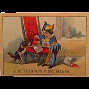 Marsh's Fine Soap Boy Jester & Cat Trade Card
