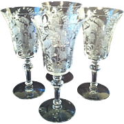 4~ Fuchsia Etched Water Goblets by Tiffin ~ #15083
