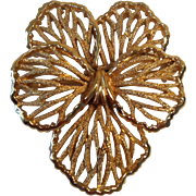 Crown Trifari Filigree Pansy Brooch