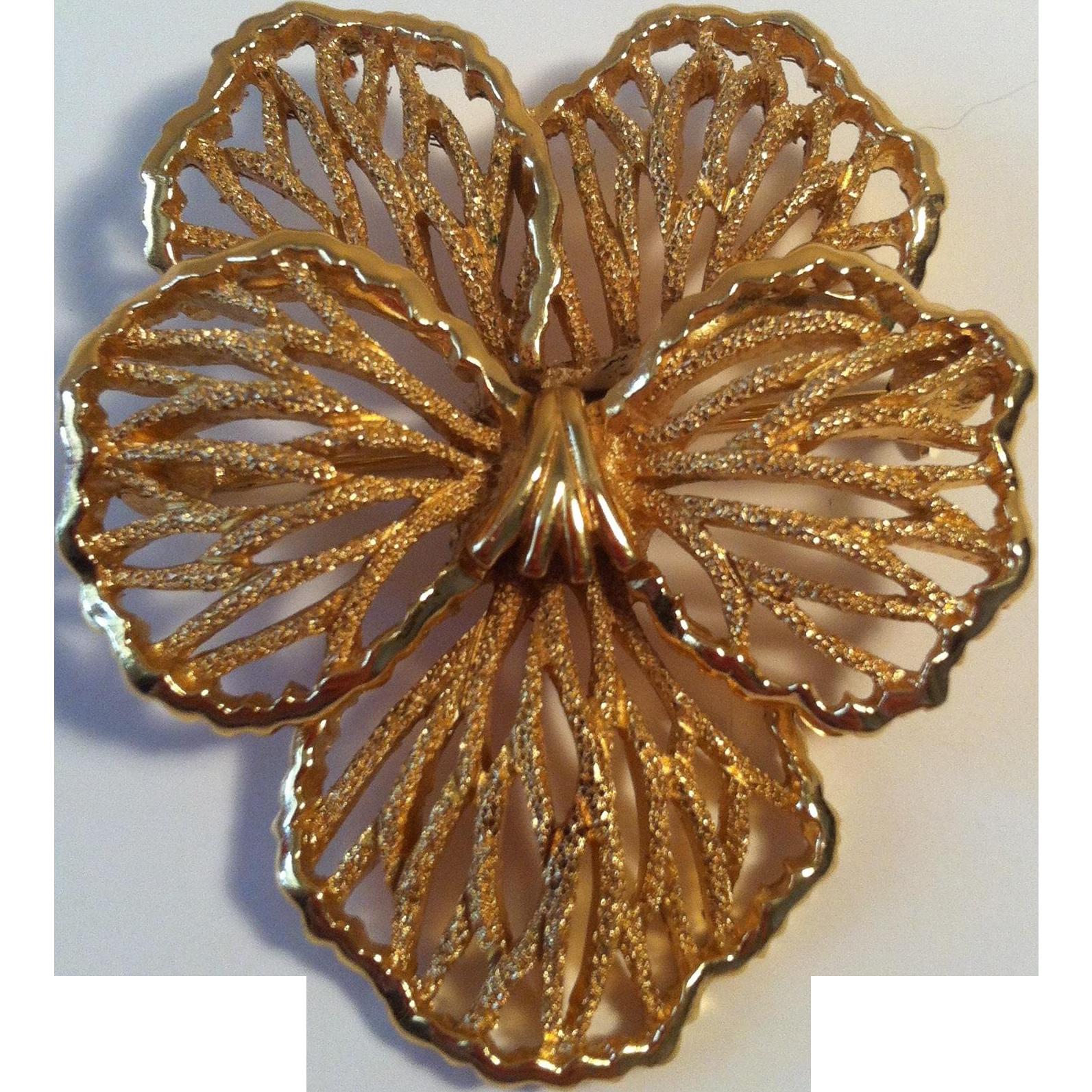 Crown Trifari Filigree Pansy Brooch