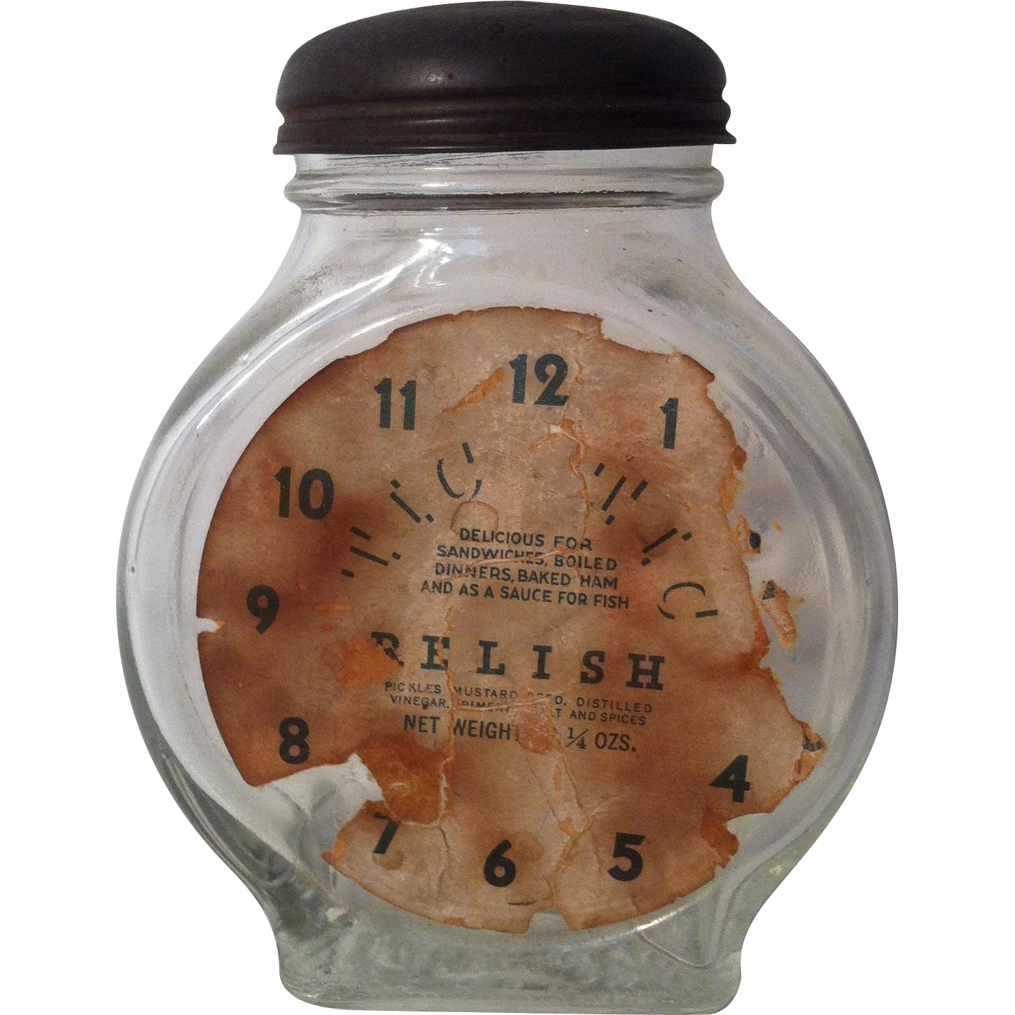 Tic Tic Embossed Clock Relish Jar