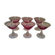 Tiffin Wisteria Pink  Champagne / Sherbet  #17477 set of 6 - Red Tag Sale Item