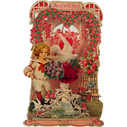 Large German Pull-Out Valentine Boy with Bouquet ~ unused