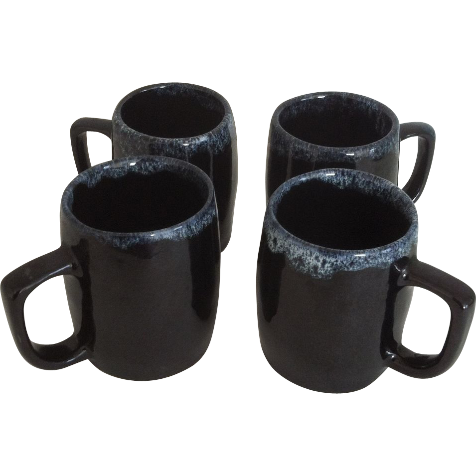 Four Van Briggle Drip Glaze Mugs