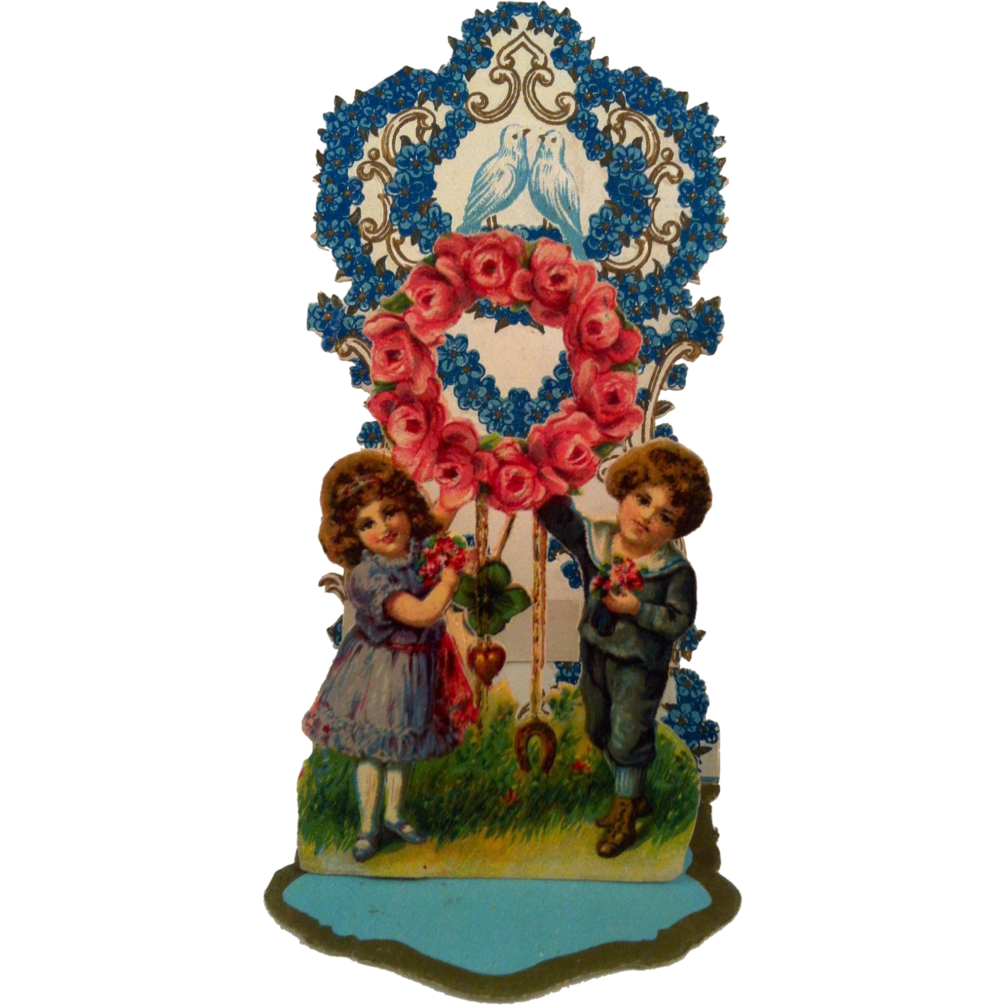 German Pull-Out Boy & Girl Wreath of Roses & Doves