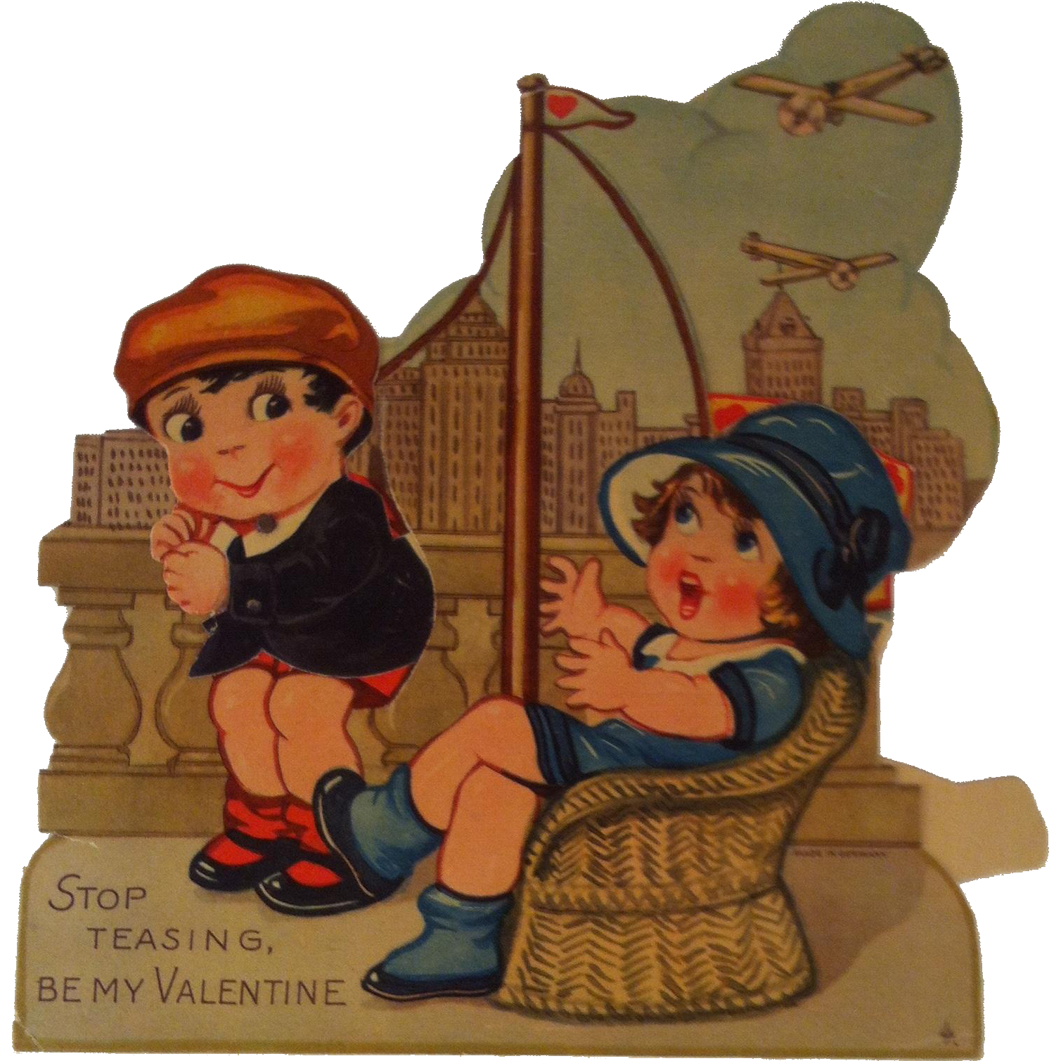 German mechanical Valentine ~ Boy, Girl, Flags and Airplanes