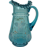 Blue Victorian Ruffle Top Lemonade Pitcher